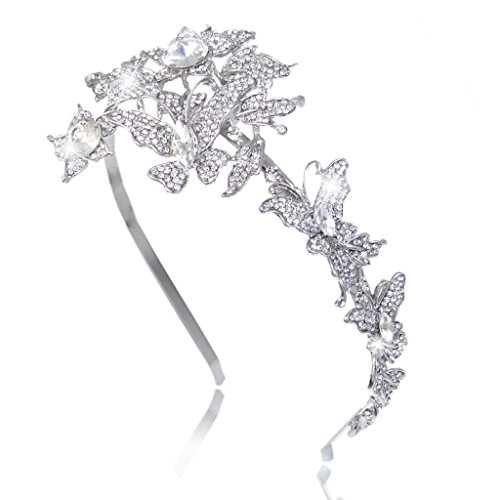 EVER FAITH Wedding Butterfly 2 Flower Headband Clear Austrian Crystal Silver-Tone (Butterfly Headband Crystal)