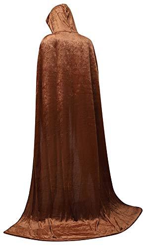 (frawirshau Unisex Hooded Cloak Cape Full Length Halloween Cosplay Costumes Masquerade Cloak Light Brown)