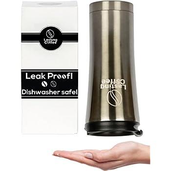 Lasting Coffee Leak Proof Dishwasher Safe Double Wall Insulated Stainless Steel Travel Mug, 16 oz (Metallic Black)