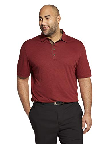 Van Heusen Men's Short Sleeve Air Performance Solid Polo Shirt, Legacy Red Rusted Root, Large