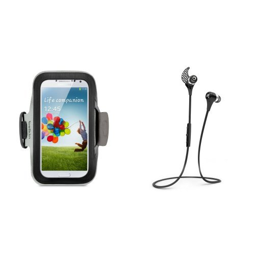 Smartphone Workout Bundle: Belkin Sports Armband Case for Samsung Galaxy S4 with Jaybird BlueBuds X Bluetooth Headphones by