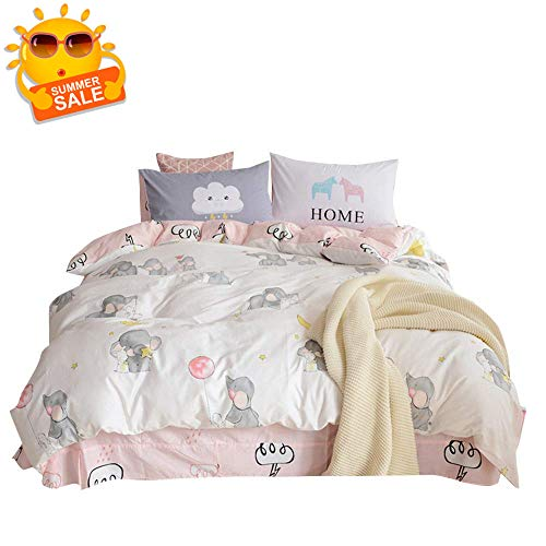 BuLuTu 100% Cotton Elephant Rabbit Print Kids Bedding Duvet Cover Sets Queen White/Pink 3 Pieces Cartoon Girls Bedding Sets Full Cotton Zipper Closure,Gifts for Daughter,Child,90x90 in,NO Comforter