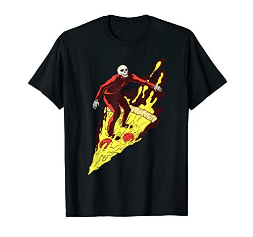 Pizza Hell Skeleton Surfing Fast Food Riding T-Shirt]()