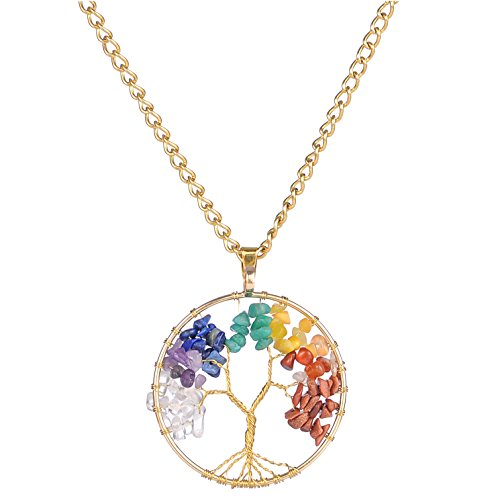 [Areke Crystal Tree Of Life Pendant Chain Necklace for Men Women - Amethyst Chakras Gemstone Charms Color] (Traditional Costume Contemporary Dance)