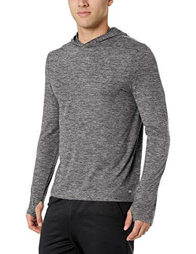 Amazon Essentials Men's Tech Stretch Long-Sleeve Performance Pullover Hoodie, Black Space dye, X-Large