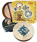 Waltons 15 Inch Bodhran Gift Set / Beater / DVD Tutor / Case / Children Of Lir Bodhran Design