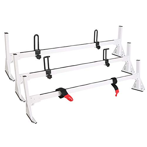 (ECOTRIC Fullsize Van 3 bar Ladder Roof Racks Steel Cross Bar White Rack for Chevy Express 1500 2500 3500 1996-2018)