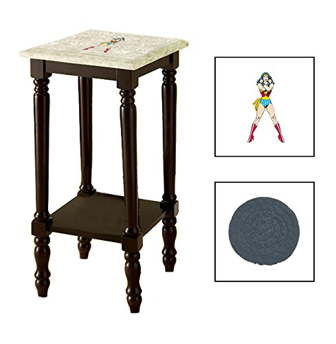 Espresso/Dark Walnut Marble Top Accent Table Featuring the Choice of Your Favorite Superhero Theme Logo on the Top Shelf - FREE Coaster Included (Wonder Woman Standing)