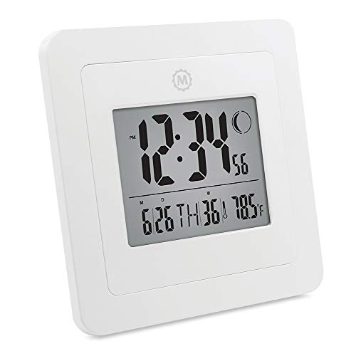 Marathon CL030049-WH Digital Wall Clock with Moon Phase, Date and Indoor Temperature. (Also Functions as a Jumbo Timer!!!) - Batteries Included. Color- White.