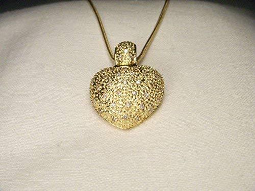 (Magnificent Estate 18K Yellow Gold Pave Diamond Heart Enhancer Pendant Slide)