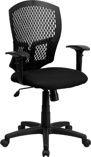 Flash Furniture Mid-Back Designer Back Swivel Task Chair with Fabric Seat and Adjustable Arms ()