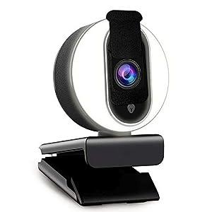1080P Webcam with Ring Light, Privacy Cover and Dual Microphone, Advanced Auto-Focus, Adjustable Brightness, 2021 NexiGo…