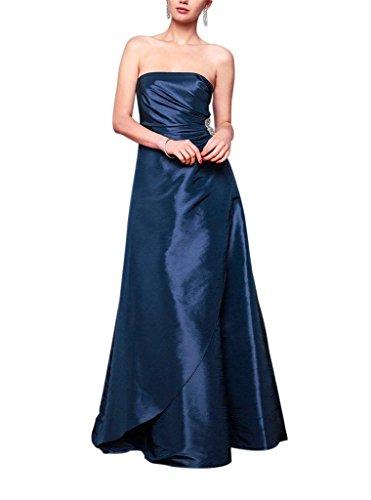 Satin der Taille GEORGE Applikationen auf mit Abendkleid BRIDE Brautjungfernkleid Koenigsblau Perlen traegerlose Einfache qqwtZvxfg