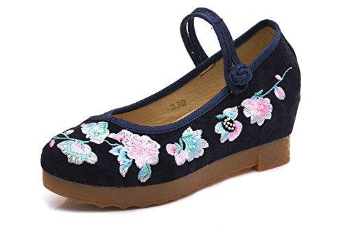 Platform Navy Womens AvaCostume Jacquard Elegant AvaCostume Shoes Womens Embroidery Ywn8FOw1xU