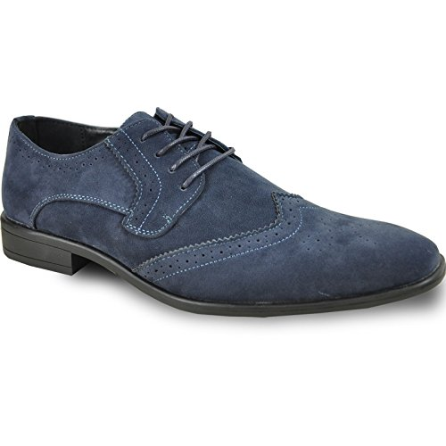 BRAVO Men Dress Shoe KING-3 Classic Faux Suede Oxford with Leather Lining - Wide Width Available