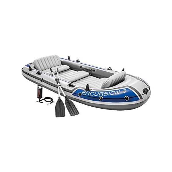 41Bni%2BkgsCL Intex Excursion 5 Set Schlauchboot - 366 x 168 x 43 cm - 4-teilig - Grau / Blau