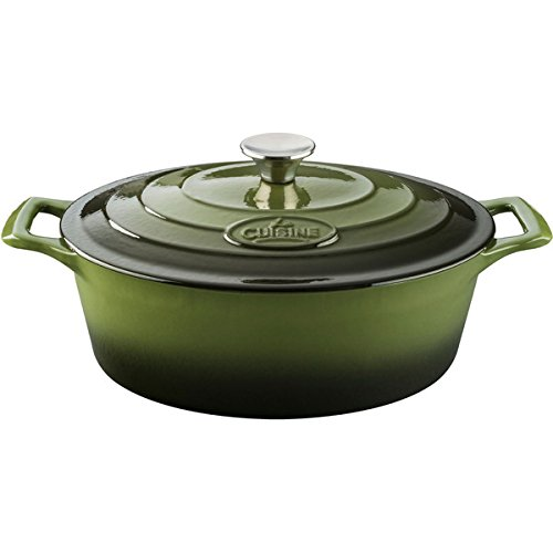 La Cuisine PRO 4.75-quart Green Enamel FInish and Cast Iron Oval Casserole (Chasseur Oval Casserole)