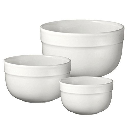 Emile Henry Made In France Flour Deep Mixing Bowl Set Of 3. Set Includes: Sm. 7'', Med. 8.5'' and Large 10'' Bowls by Emile Henry