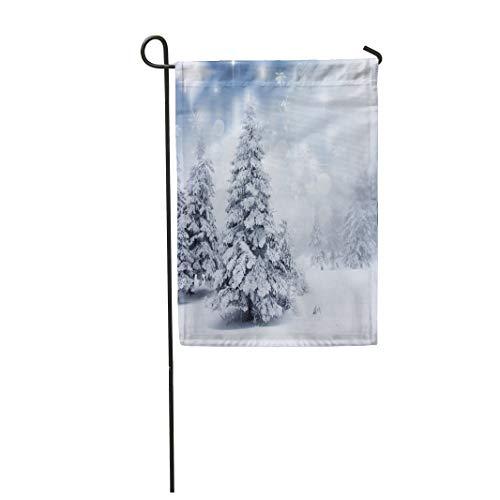 Tarolo Decoration Flag Blue Snow Christmas Snowy Fir Trees Silver Winter Window Fairy Pine Holiday Thick Fabric Double Sided Home Garden Flag 12