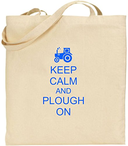 Fun Tote Xmas Blue Present Large And Cotton Keep Bag Plough Shopping Calm On Farming wHvR4B