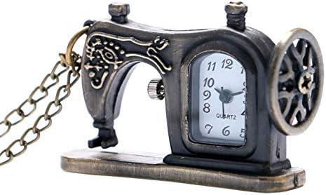 JHYMM Reloj de Bolsillo Mini Relojes de Cuarzo de Bronce Antiguo Máquina de Forma de Coser Reloj de Bolsillo de Moda Collar Colgante con Cadena Larga: Amazon.es: Deportes y aire libre