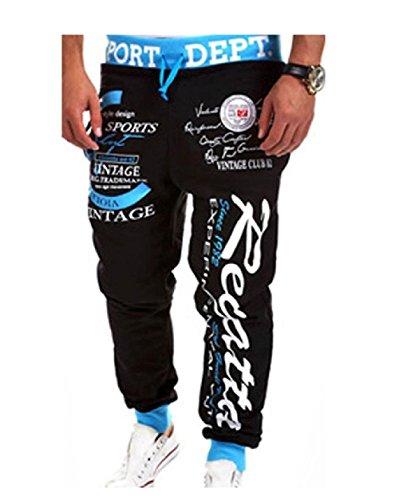 Letter Pattern Printing Sport Baggy Jogger Long Pant (L, black-blue) (Stylish Letter Pattern)