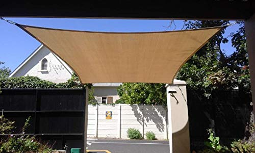- Rectangle Sun Shade Sails for Backyard Lawn Camping Carport, 10' x 14' Outdoor Cover UV Resistant Sunshade Fabric Awning Shelter (Sand Color)