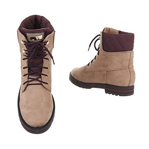 Zapatos para mujer Botas Tacón ancho Botines de cordones Ital-Design Beige