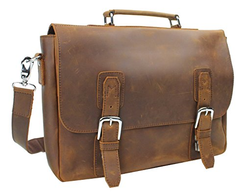 Vagabond Traveler Full Grain Leather Laptop Bag with Clasp Lock L55. Vintage Brown by Vagabond Traveler