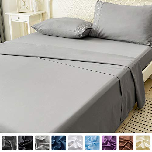 LIANLAM Queen Bed Sheets Set - Super Soft Brushed Microfiber 1800 Thread Count - Breathable Luxury Egyptian Sheets 16-Inch Deep Pocket - Wrinkle and Hypoallergenic-4 Piece(Queen, Grey)