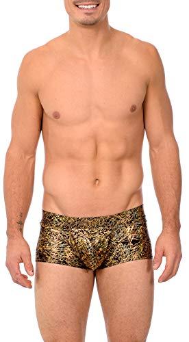 Gary Majdell Sport Mens Print Contour Pouch Bikini Swimsuit (Medium, Flick_BLK_GLD)