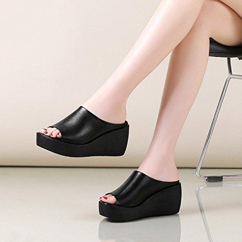 ZPPZZP Ms sandali pantofole trascina la spessa rilassatevi nel a tacco alto 37EU nero