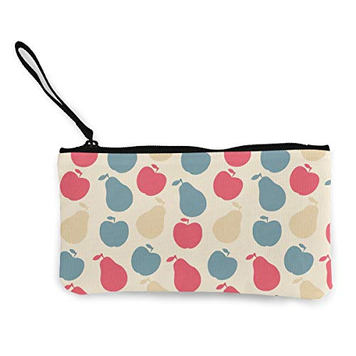 Oomato Canvas Coin Purse Apple Pear Red Cosmetic Makeup Storage Wallet Clutch Purse Pencil Bag -