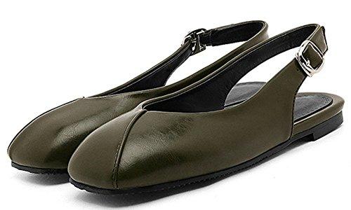 Green Shoes IDIFU Flat Women Sandals Casual Slingback Square Toe Buckle qRHzRA