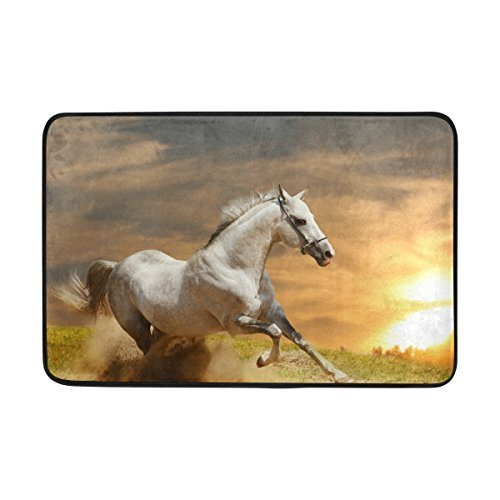 - Bag shrot Entrance Doormat Horse White Stallion in Sunset Indoor/Outdoor Decor Rug Doormat 23.6x15.7 Inch Non-Slip Home Decor