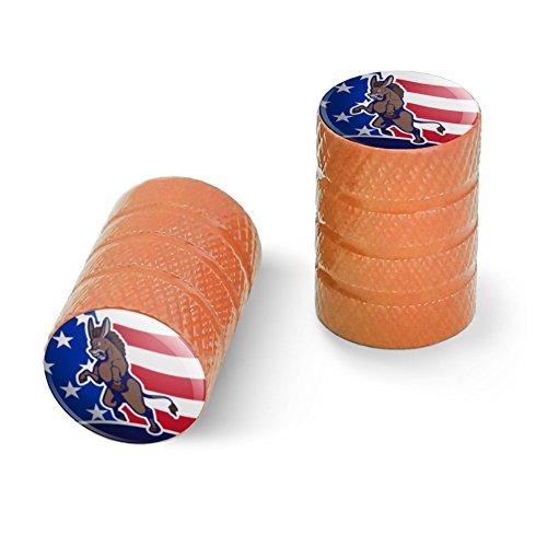 オートバイ自転車バイクタイヤリムホイールアルミバルブステムキャップ - オレンジ怒っている民主党ロバの政治アメリカの旗
