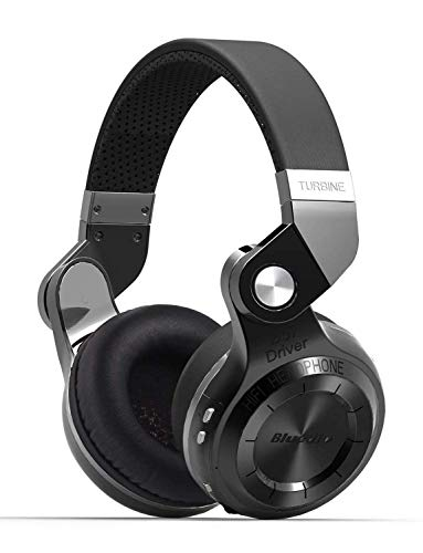 Bluedio T2S Bluetooth Headphones On Ear with Mic, 57mm Driver Rotary Folding Wired and Wireless Headphones for Cell Phone/TV/PC, 40 Hours Play TimeVoice Control Cloud Function (Black)