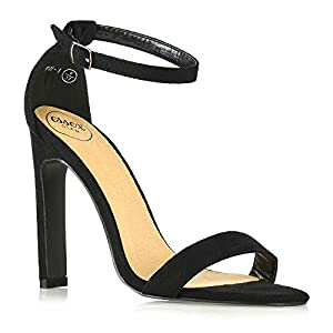 ESSEX GLAM Womens High Heel Barely There Ankle Strap Sandals Ladies Open Toe Strappy Evening Party Shoes Size 3-8