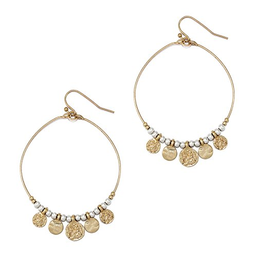 - Pomina Metal Beaded Hoop with Coin Charms Drop Earrings (Worn Gold)