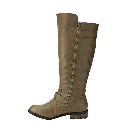Forever Gf04 Kvinners Spenne Stropper Zip Opp Under Kneet Høyt Riding Boots Taupe