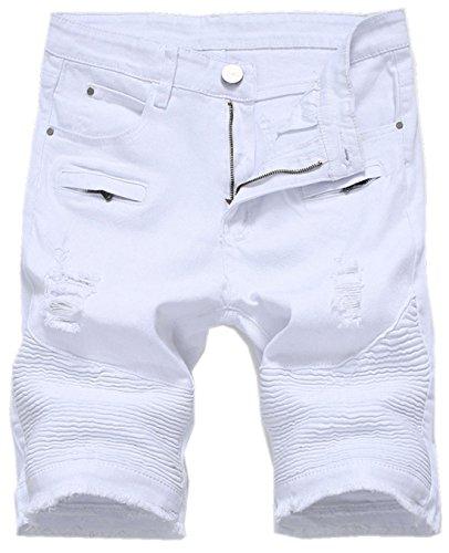 Chouyatou Men's Cool Stylish Wrinkle Performance Slim Ripped Denim Shorts (32, White) by Chouyatou