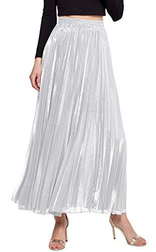 Chartou Women's Premium Metallic Shiny Shimmer Accordion Pleated Long Maxi Skirt (XX-Large, White)