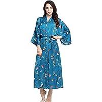 BABEYOND Floral Kimono Robe Satin Silk Wedding Robe 1920s Kimono Nightgown Sleepwear 53 Inches Long