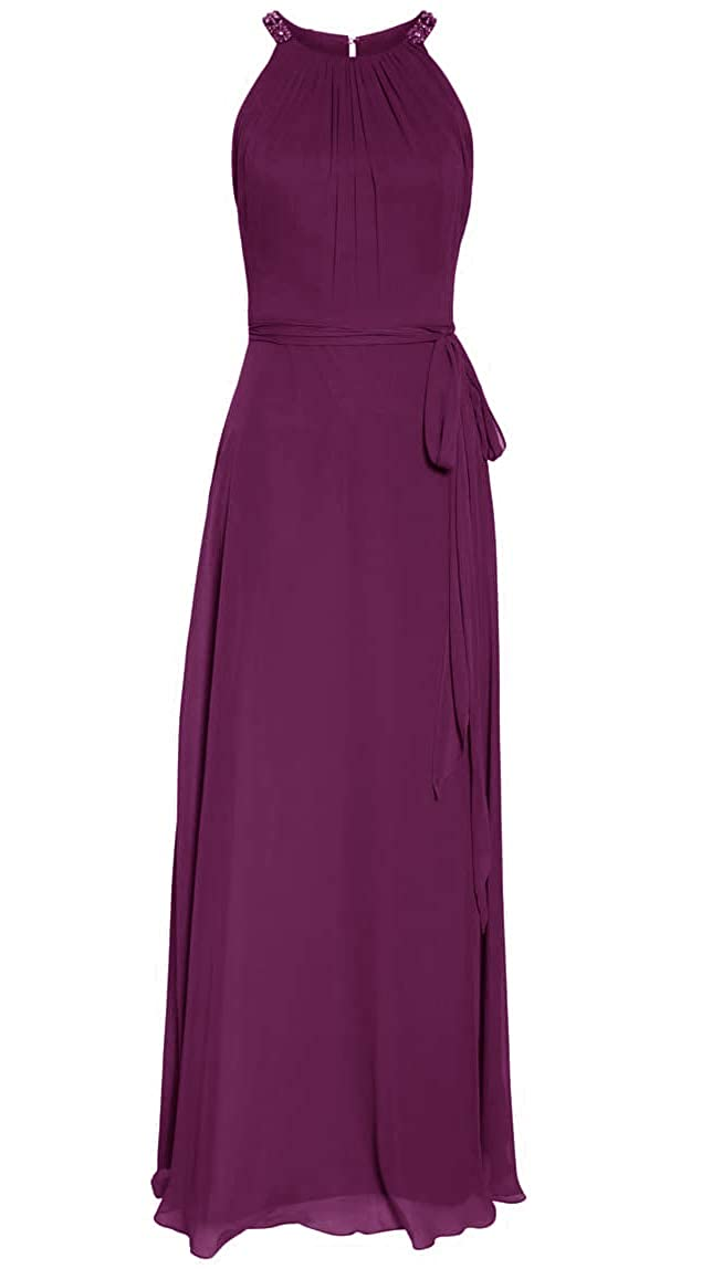 Grape ASBridal Bridesmaid Dresses Long Prom Dress for Women Halter Formal Evening Gown Bridesmaid Dress