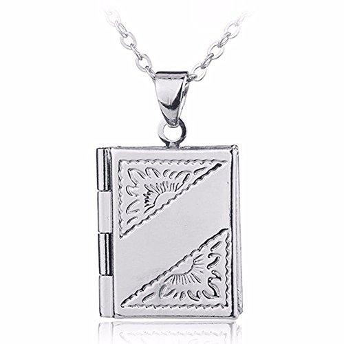 Book Locket (Silver Book Locket Charm Pendant Necklace)