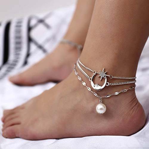 Zoestar Boho Moon Star Anklets Multi-Layer Pearl Ankle Bracelets Charms Beach Foot Chain for Women and ()