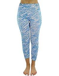 Blue & White Zebra Pattern Capri Style Stretchy Leggings