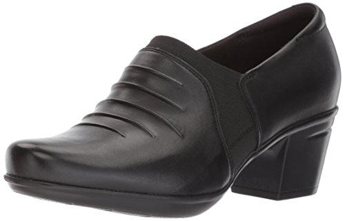 Clarks Women's Emslie Chara Slip-on Loafer, Black Leather, 12 M US