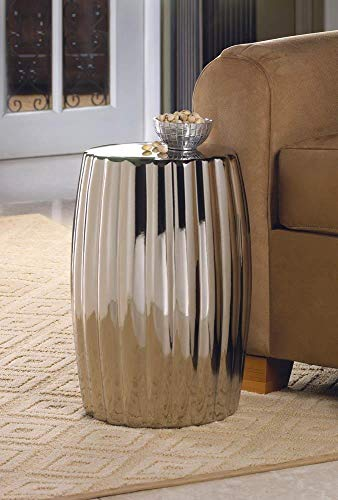 Silver Decorative Accent Ceramic Stool for Livingroom Rounded Side Tables for Small Spaces Modern Design Footstool Furniture Coffee Table Boho End Table Bohemian Nightstand Stool Decor Makeup Stools