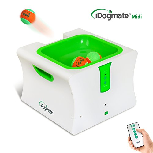 iDogmate Ball Launcher Automatic Rechargeable Ball Thrower Tennis Ball Launcher Remote Interactive Machine with 3 Safe Balls (Large - Midi) -